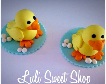 6 Edible fondant duck Cupcake  and cake Toppers