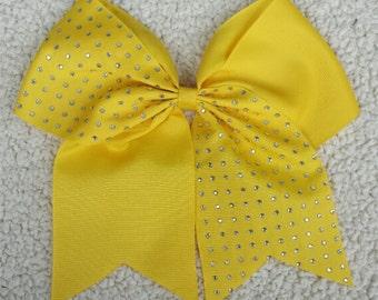 Rhinestone Cheer Bow/ Half Rhinestone Dandelion Yellow Cheer Bow/ Cheer Bows