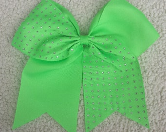 Half Rhinestone Lime Green Cheer Bow Cheerleading Bling