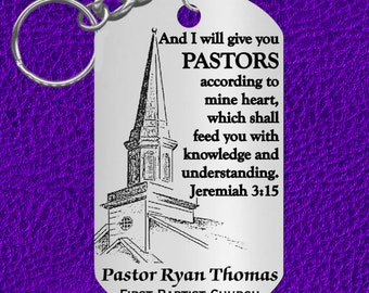 PASTOR Keychain Gift, Special, Personalized with NAME and Church. Reverend, Bible Verse Jer 3:15 Pastor Appreciation Gift