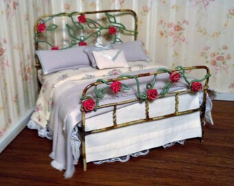 Dollhouse Miniature Metal Bed 1/12 Scale Item #17158
