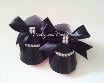 10 Adorable Black Baby Paper Shoe Favor Boxes (Red Bottoms)