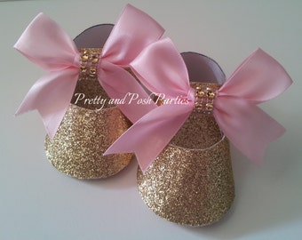 10 Adorable Glitter Gold with Pink Bows Paper Shoe Favor Boxes