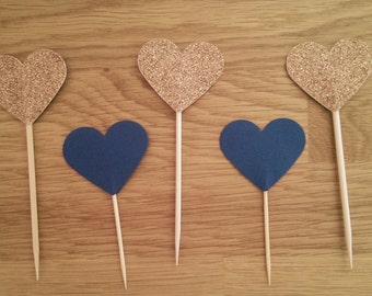 Pack of 10 Heart Toppers - Wedding, Birthday, Celebrations