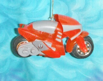 Motorcycle Motor Bike Red/Green/Blue Plastic - Free Shipping - Christmas Ornament