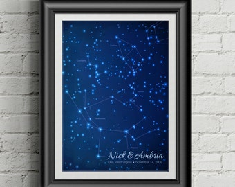 Star Chart Constellation Poster - Personalized Wedding, Birthday or Anniversary gift - Modern Style