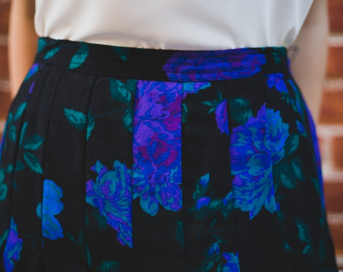 Vintage Black Skirt with Large Bold Blue Fluorescent Flower Pattern / Floral Summer Skirt / Beach, Cottage, City Attire