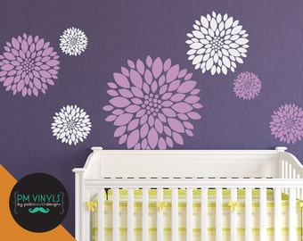 Dahlia Flower Vinyl Wall Decals, set of 7 - FLO001