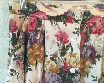90s Floral Long Skirt