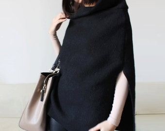 Black wool poncho, women wool cape