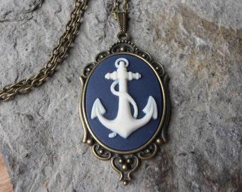 Anchor Cameo Necklace - Nautical - Naval, Navy, Sea, Ocean - Bronze Setting, Bronze Chain - Christams