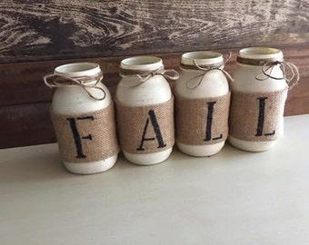 Set of 4 FALL Mason Jar Decor
