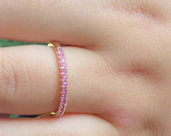 Rose Gold Pink Sapphire Half Eternity Band 18K Matching Eternity Band 1.6mm Pave Anniversary Ring 18K Pink Sapphire Band Birthstone Ring