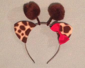 1 quantity headband Giraffe with bow Jungle animal ears birthday party favors supplies jungle Halloween costume kid child adult baby