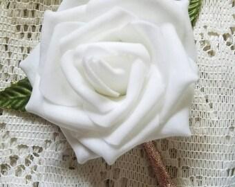 Boutonniere, set of 10 boutonniere, wedding boutonniere, rose gold boutonniere, shiny rose gold boutonniere, groomsmen boutonniere