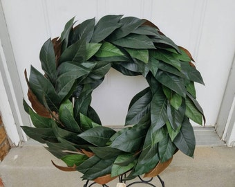 Magnolia wreath, magnolia leaf wreath, magnolia door wreath, faux magnolia decor, southern magnolia wreath, artificial Large magnolia wreath