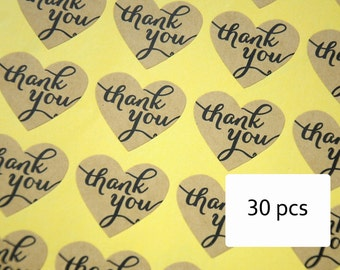 Heart thank you stickers, wedding stickers, wedding labels, wedding seals, heart kraft sticker - set of 30