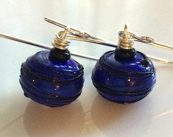 Deep Blue Glass Earrings / Cobalt Blue / Lampwork Glass / Sterling Silver Earrings / Blue and Black / Glass Dangles