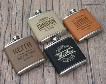 Groomsman Personalized Flask Engraved with Choice of Wedding Pary Design Options including Gift Box (Each)