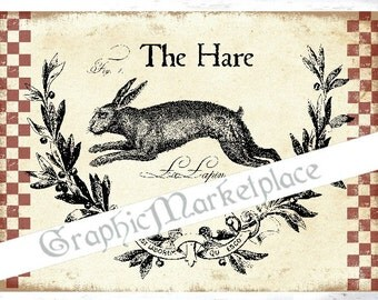 Hare Rabbit Lapin Country Easter Lievre Download Transfer Burlap Iron on Fabric digital collage sheet graphic printable image No. 481