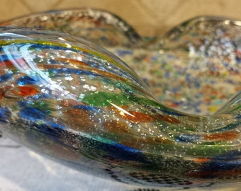 Murano Art Glass Multi-Colored CONFETTI SPLATTER Dish made in Italy