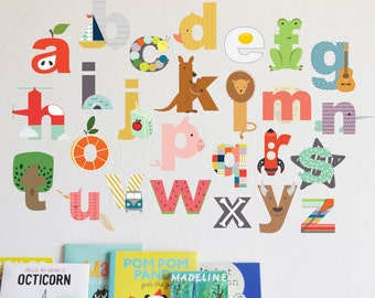 Wall Decal - Interactive Lowecase Alphabet  - wall sticker - room decor