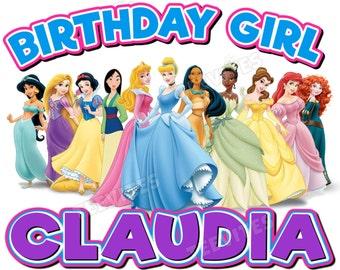Personalized Birthday Girl Disney Princess T-Shirt Rapunzel, Jasmine, Snow White, Mulan, Aurora, Cinderella, Pocahontas, Tiana, Belle, Ariel