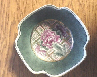 Vintage Collectibles Asian Hand Painted Pink Floral Rice Bowl