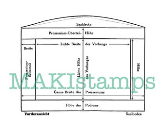 Theater stage sketch collage rubber stamp / background stamp / Blueprint stamp - unmounted or cling stamp (160511)