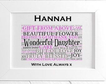 Personalised Daughter Framed Word Art