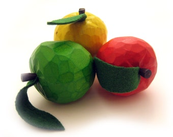 Apple, grocery items, handcarved