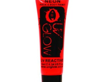 Red UV Glow Neon Body Paint - Glowing Body Paint - 0.34 / 10ml tubes