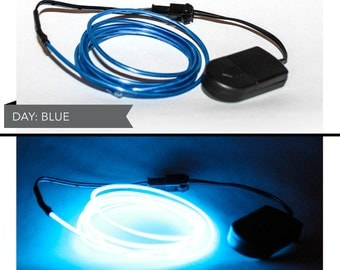 4 Foot LED El Wire Kit with 2032 Lithium Battery Pack - Neon Blue (Batteries Not Included) - EDM, EDC, Burning Man