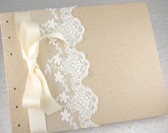 Retirement Guest Book, Ivory and White, Rustic Wedding Guest Book, Baby Shower Book, Bridal Party Book, Romantic Guest Book, MADE TO ORDER