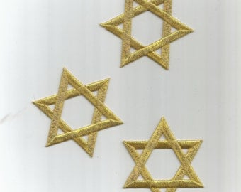 3 pc Silver Star of David Jewish Embroidered Iron on Patch Applique 4251611