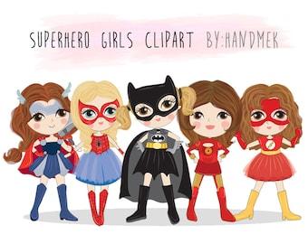 Cute Superhero girls clipart set 2 : Instant Download PNG file - 300 dpi