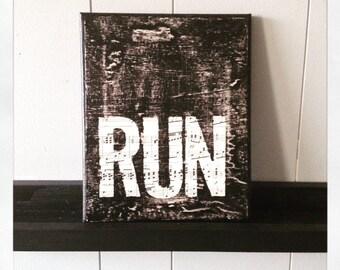 "Canvas Art Quote ""Run"" 8 X 10 Canvas"