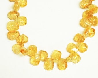 Citrine Nugget Shape Top Drill Beads