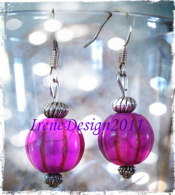 Handmade Silver Hook Earrings with Pink Pumpkins for Halloween by IreneDesign2011