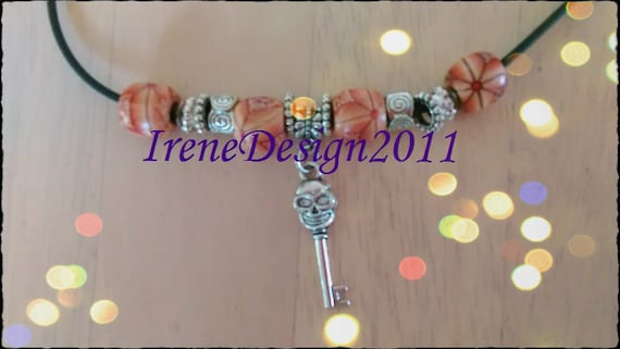 Handmade Leather Necklace with Wooden Beads & Skull Key by IreneDesign2011