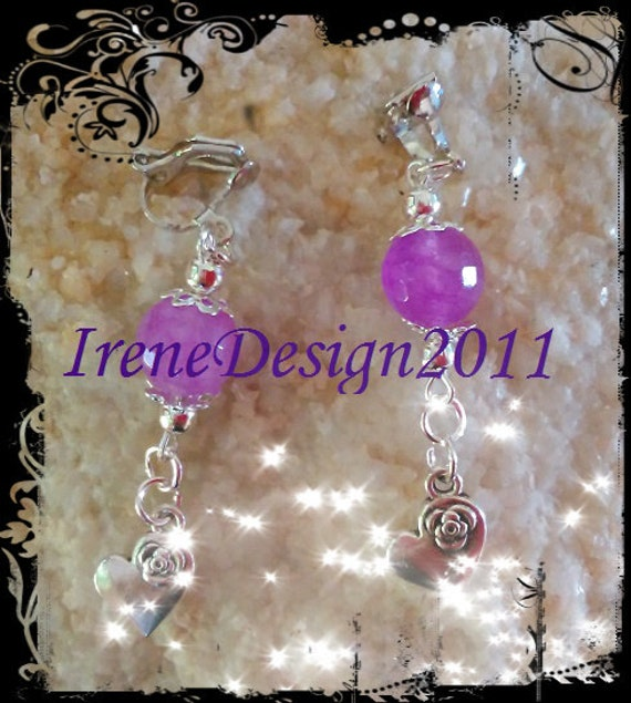 Handmade Silver Clip-On Earrings with Facetted Amethyst & Heart by IreneDesign2011