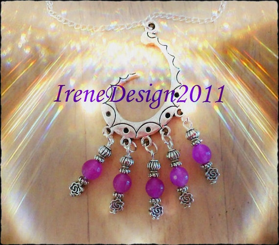 Handmade Silver Necklace with Facetted Alexandrite & Roses by IreneDesign2011