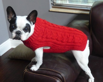 100% Wool - Cable Knit Bright Red Sweater- Hand Knit Dog Sweater