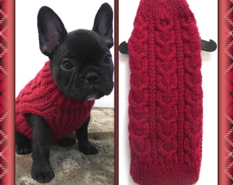 100% Wool - Cable Knit Cherry Red Sweater- Hand Knit Dog Sweater -- XS-L