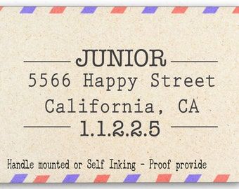 Custom Personalized Return Address Mounted Rubber Stamp AW44