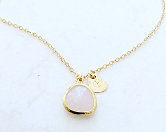 Rose Quartz choker with initial monogram necklace 14k gold filled heart necklace heart jewelry initial choker rose quartz necklace custom