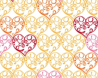 Love Bug Scrolled Hearts Fabric By the Yard