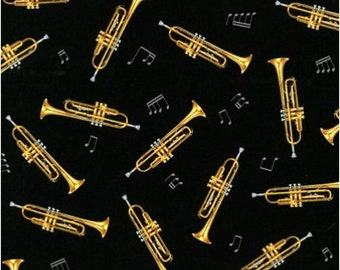 In Tune Trumpet Black Fabric From Robert Kaufman By the Yard