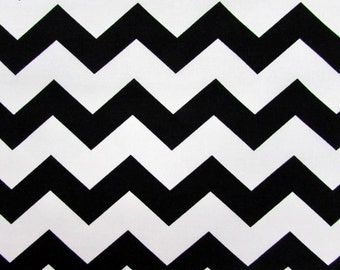 "1"" Black Chevron Fabric"