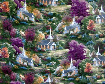 Per Yard, Thomas Kinkade Spring Chapels Fabric From David Textile